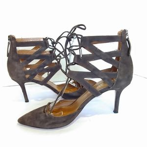 Aquazzura Suede Belgravia Lace Up heels